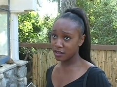 Petite Ebony Talked Into Doing Porn