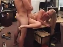 Blonde tramp pawns her pussy and pounded by perv pawnkeeper