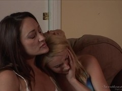 Hot blonde and brunette lesbians make out and kiss sexy