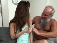 Grandpa Greets Teen Lover in His Towel