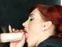 Classy redhead stunner drenched with cum