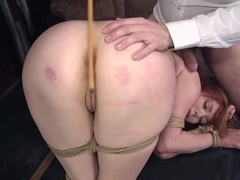 Huge Tits Redhead Gets Ass Caned
