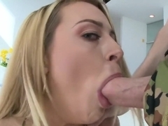 Corinna's small bunghole takes a lot of lube to fit a huge cock