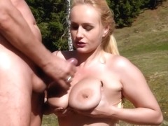 Fat lady, Angel Wicky is sucking a handsome strangers dick in the nature and then getting fucked