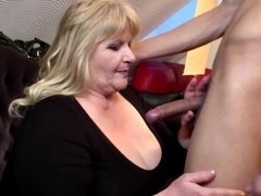Young boy fucks big old granny