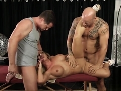 Busty Masseuse Cali Carter Threeway Sex After Giving Massage