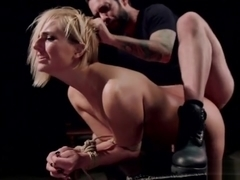 Natural blonde slave rough anal banged