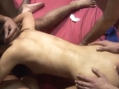 Redhead and slim aged are screwed by several studs
