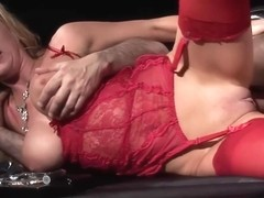 Paige Ashley is wearing erotic, red lingerie and smoking while getting fucked hard, from the back