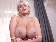 Angel Wicky is proudly showing her titjob routine before drilling her pussy with a dildo