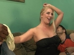 Blonde with hairy beaver is plugged hard until climax