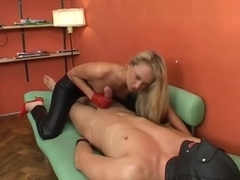 Russian Blonde Seductress with red gloves