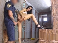 Cop fucking slutty gal outdoors