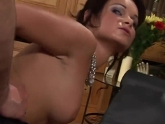 Classy bitch Jenny Baby gets creamed after threesome fuck