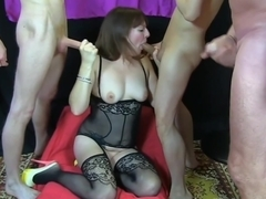 Wife gangbang in the garage