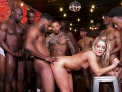 Blonde Skank Gobbles Big Black Cocks