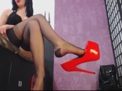 Sexy girl nylon high heels