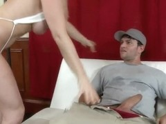 Hot blonde Kaylee blows Preston's cock