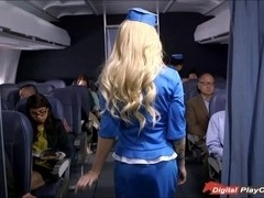 Stewardess Helly Mae caught rubbing her pussy on board