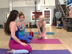 Yoga threesome lesbian action with Chloe Lynn, Karina White and Mercedes Lynn