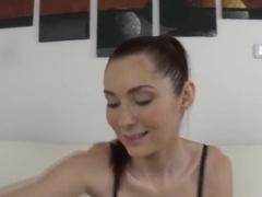 Golden member appears on the top of Kattie Gold's clit