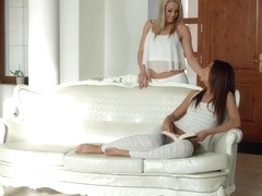 Christen Courtney licks and kisses Alexis Brill on Sapphic Erotica in lesbian sex scene