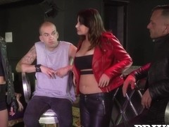 Biker chick Anna Polina enjoys threesome & DP