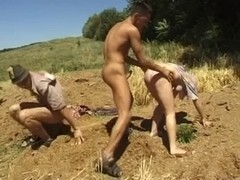 Village people having bisexual threesome