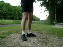 Juvenile pissing in darksome lycra and tn airmax in public park