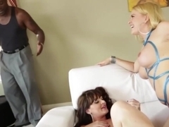 Lexington Steele enjoys banging Sophie Dee and Krissy Lynn tight pussy and asshole