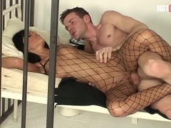 Hot Police Woman Black Angelika Fucks Prisoner in a Jail