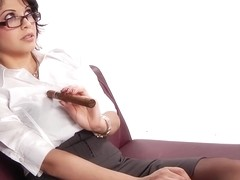 Evie Delatosso is a smoking hot secretary who would always choose sex over doing her job