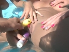 Three lesbians Kelso D'Love, Nikki Brooks and Rita Marie in the swimming pool