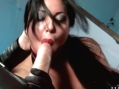 Angelica Heart In Black Leather Gets Anal Before Cum On Her Fake Tits