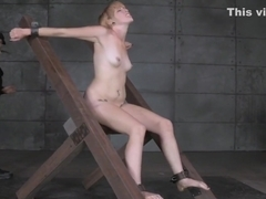 Whipped submissive pussy teased by her master