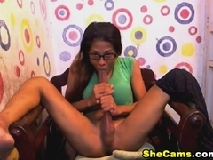 Nerdy Shemale Sucks Her Own Huge Cock