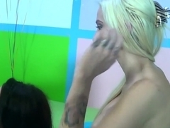 Busty babes Rikki Six and Noelle Easton fuck and then suck him off