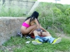Perfect girl with real tits gets fucked in the ass, in nature