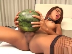 Ladyboy bonks And Cums In Watermelon