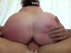 Nasty German mature is riding a young guy's hard cock, while he is grabbing her big tits