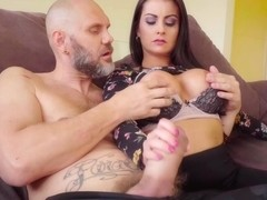Bianka Blue is a delightful brunette who likes to fuck her bald neighbor, quite often