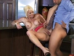 Busty babe Rhylee Richards is being fucked hard in her wet pussy