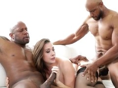 Chanel Preston wanted to have a threesome with two black guys, until she gets completely exhausted