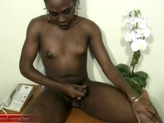 Black tranny with puffy nipples wanks off her thick shecock