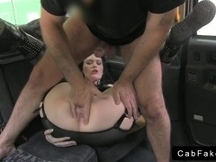 Goth British amateur fucks in fake taxi and gets creampie
