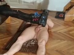 Sexy domina do CBT ball & cock stomping in huge boots pt2 HD
