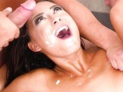 Small titted brunette, Cassie Del Isla got gangbanged in the middle of a beautiful day
