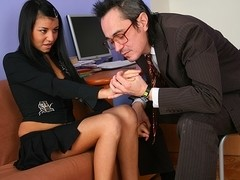 TrickyOldTeacher - Brunette student spreads legs and is fucked deep by horny teacher