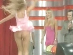 Sexy up skirt video of a tv girl bowling in mini dress