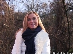 Czech blonde banged outdoor pov